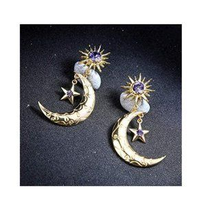 Moon-A Long Drop Dangle Stud Earrings